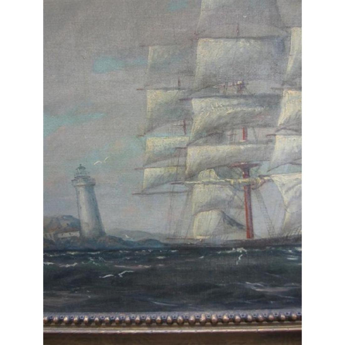 Signed T. Bailey, Clipper Ship Oil Painting - 2