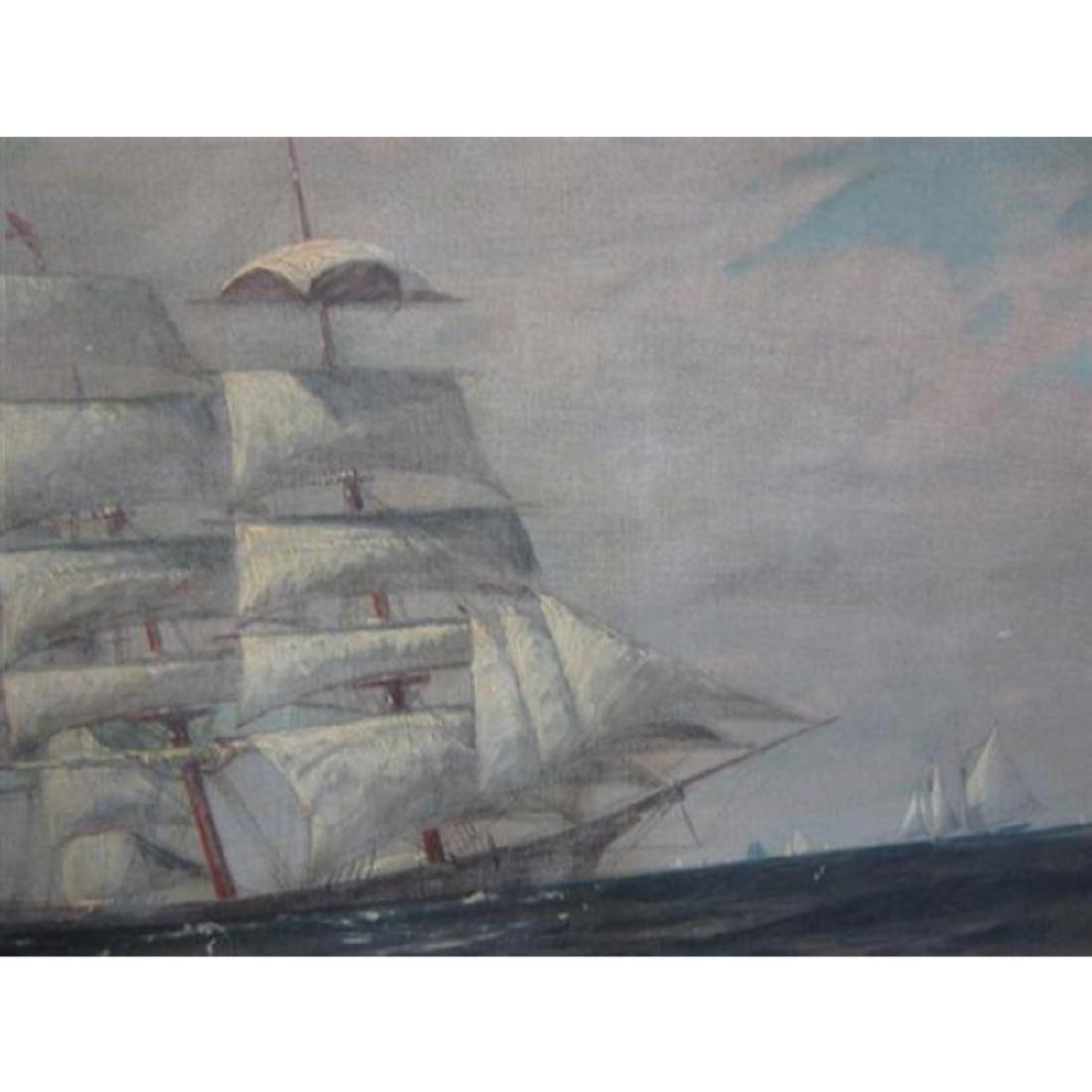 Signed T. Bailey, Clipper Ship Oil Painting - 4