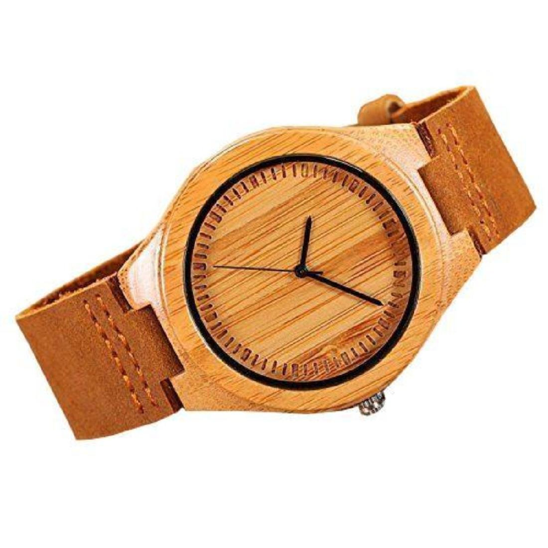 Cucol Wrist Watches Men's Bamboo Wooden With Brown - 2