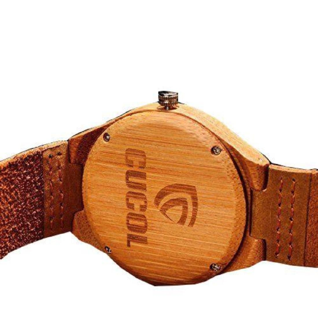 Cucol Wrist Watches Men's Bamboo Wooden With Brown - 3