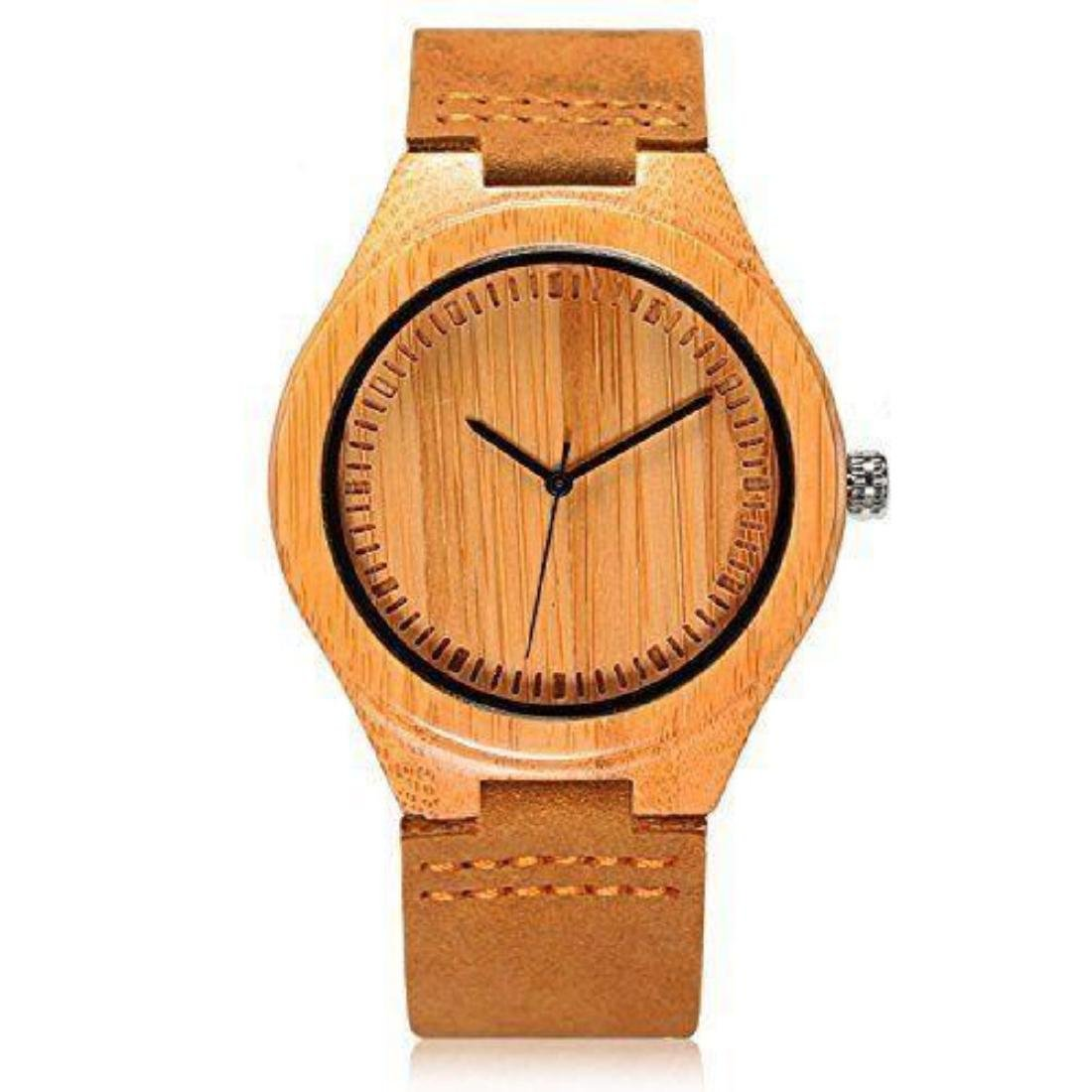 Cucol Wrist Watches Men's Bamboo Wooden With Brown - 4
