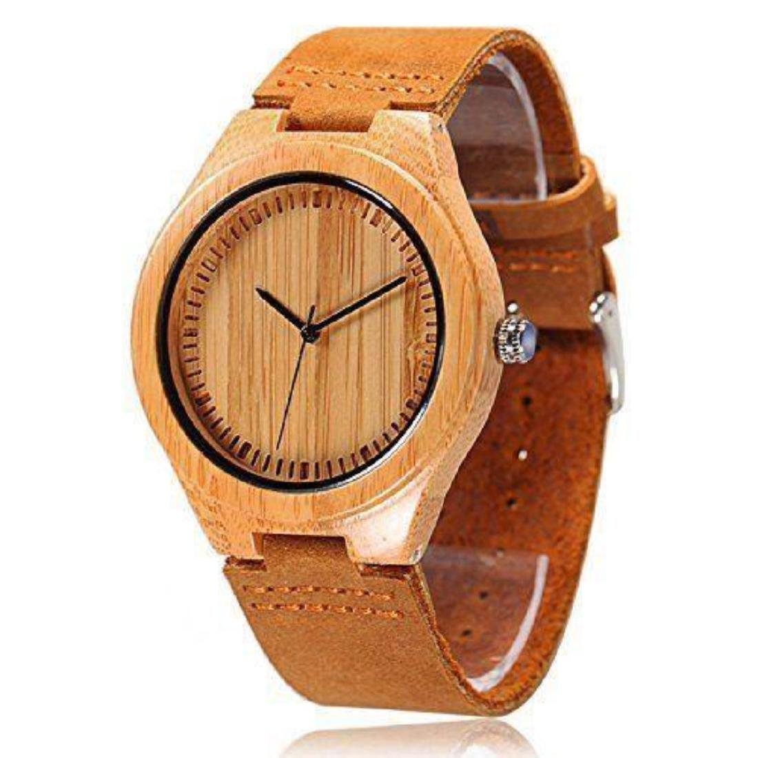 Cucol Wrist Watches Men's Bamboo Wooden With Brown - 5