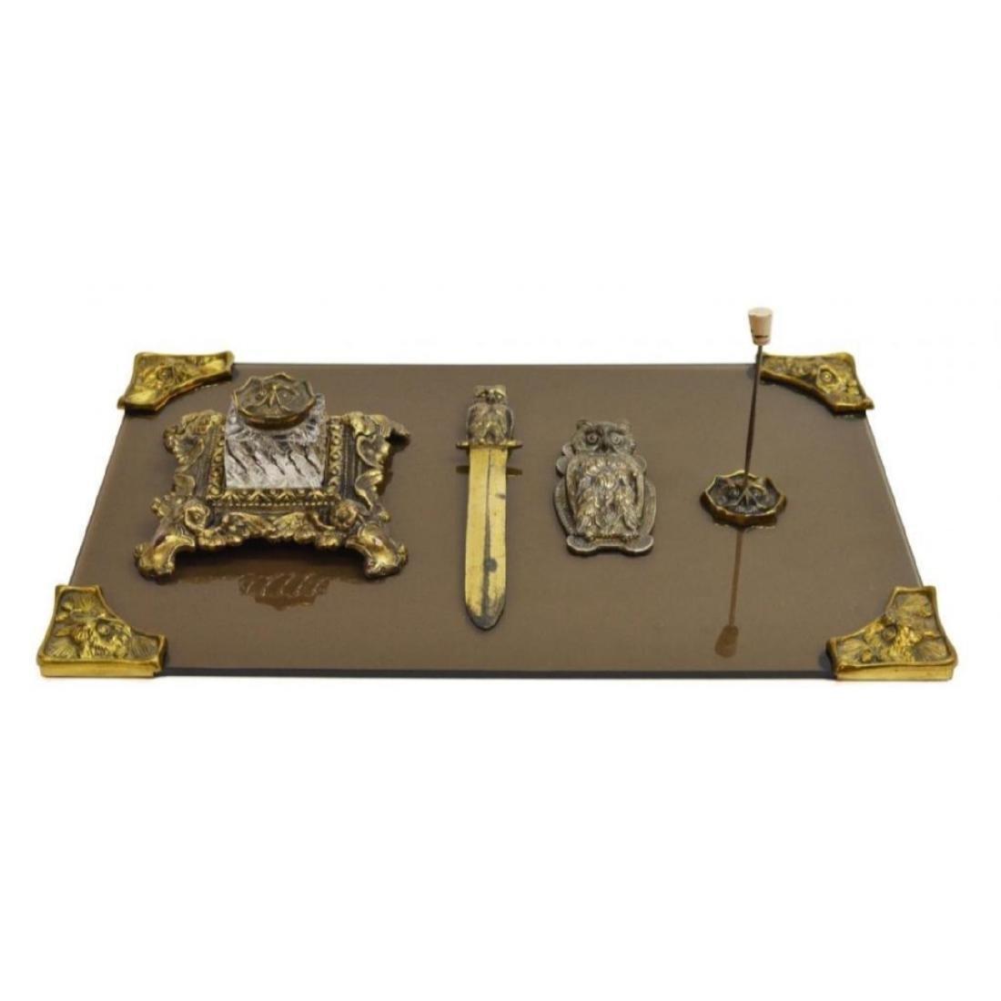 Art Nouveau Cast Iron Owl Desk Set - 3