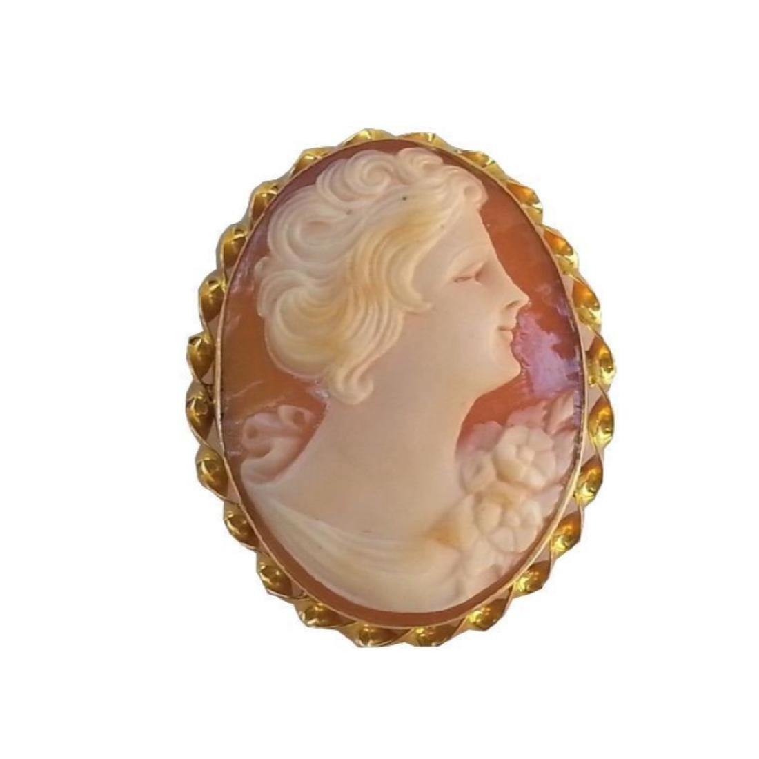 Vintage 10kt Yellow Gold Cameo Brooch - 3