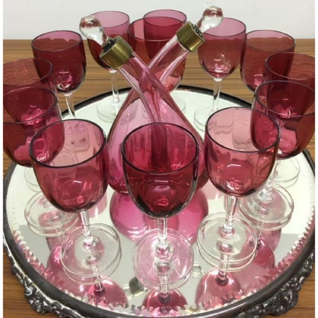 Cranberry Glass Wine Set With Decanter and Cut Glass - 2