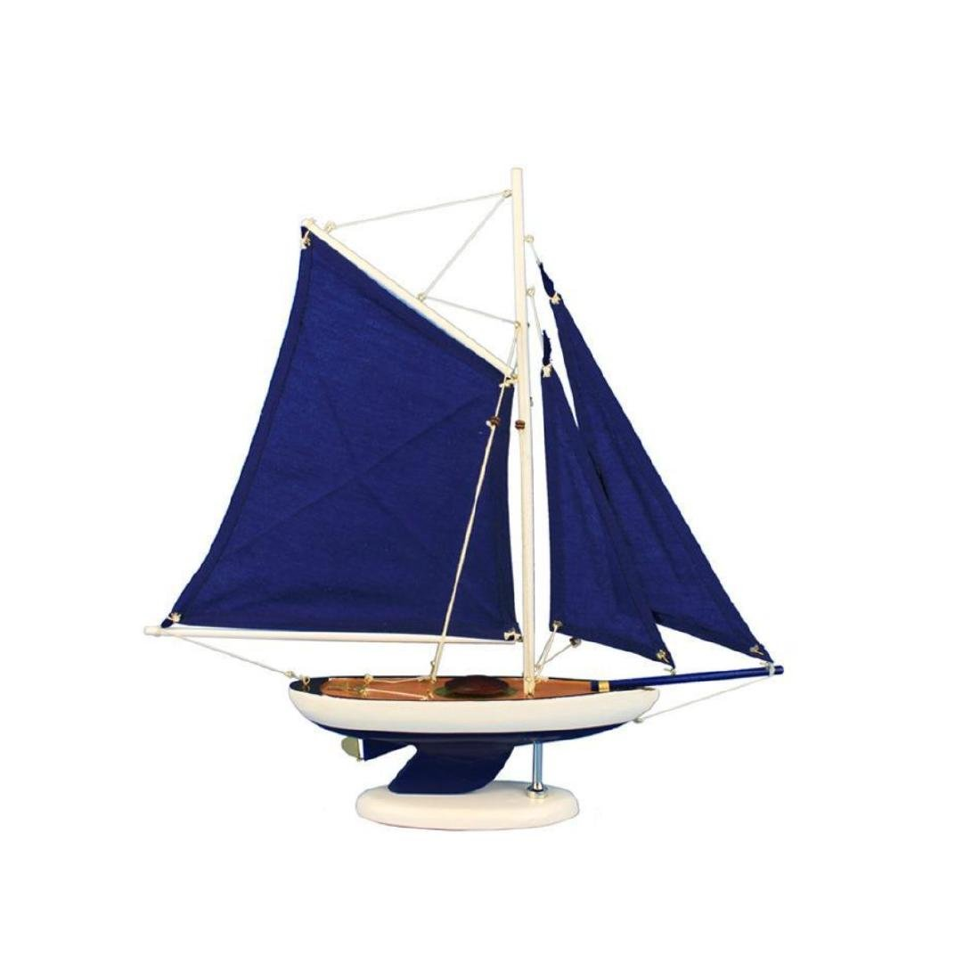 Wooden Bermuda Sloop Dark Blue Model Sailboat