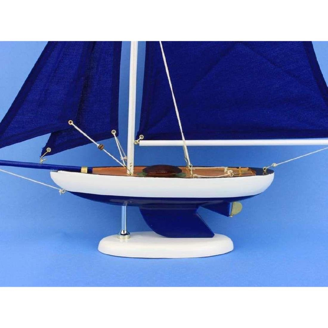 Wooden Bermuda Sloop Dark Blue Model Sailboat - 2