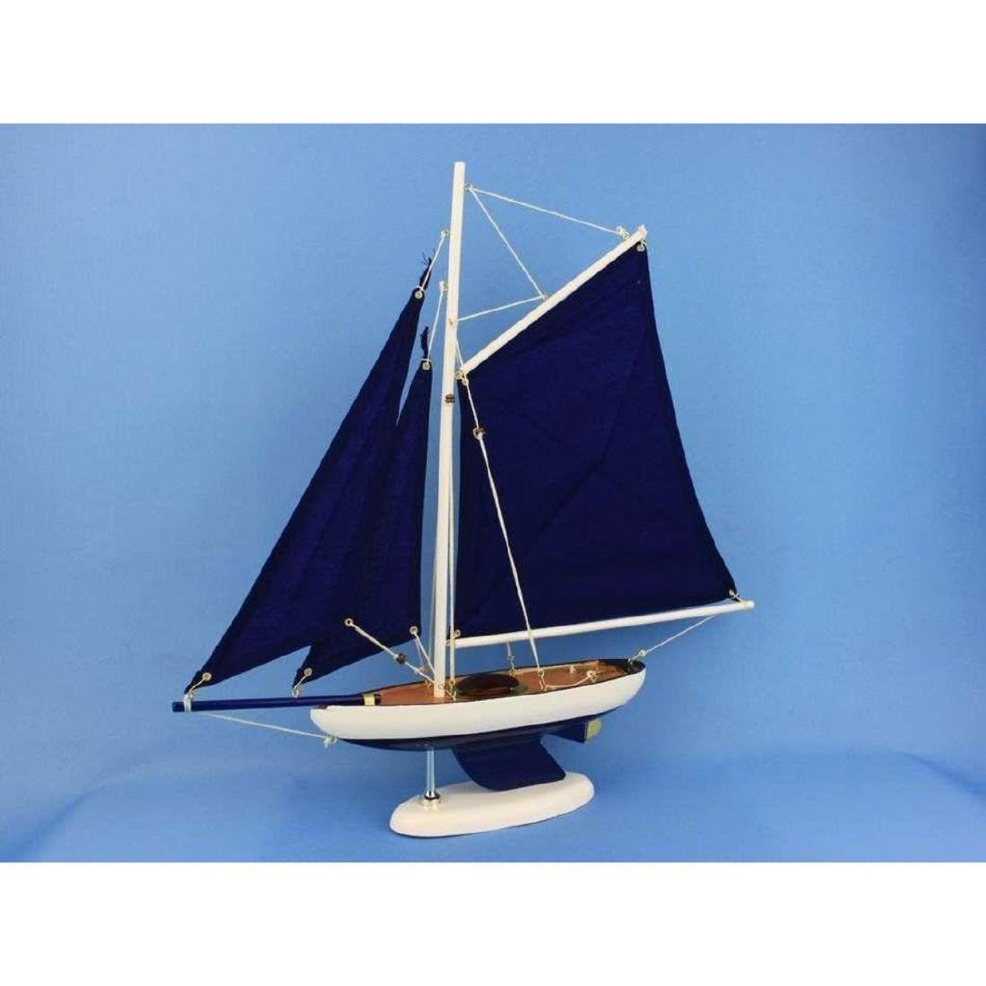 Wooden Bermuda Sloop Dark Blue Model Sailboat - 3