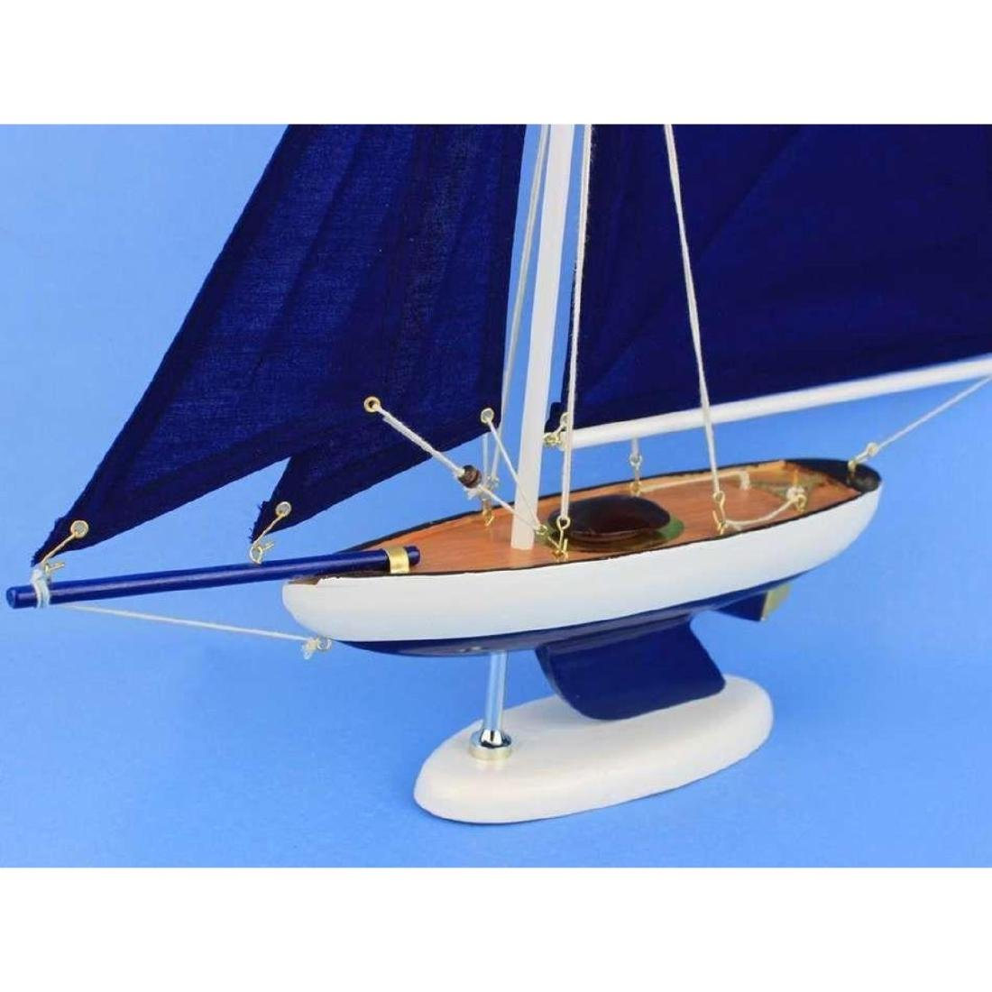 Wooden Bermuda Sloop Dark Blue Model Sailboat - 4