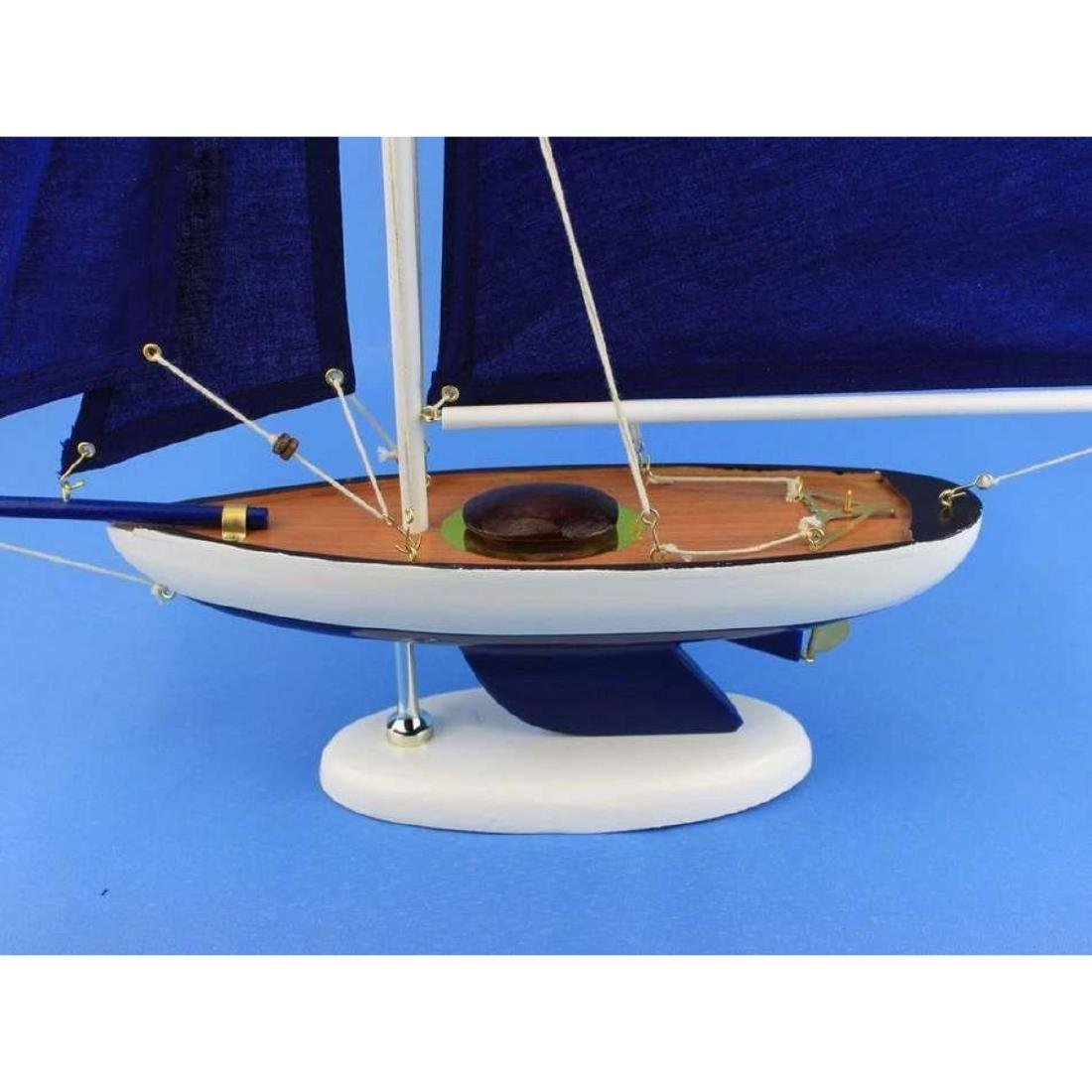 Wooden Bermuda Sloop Dark Blue Model Sailboat - 5