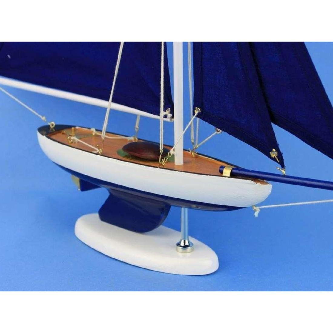 Wooden Bermuda Sloop Dark Blue Model Sailboat - 6