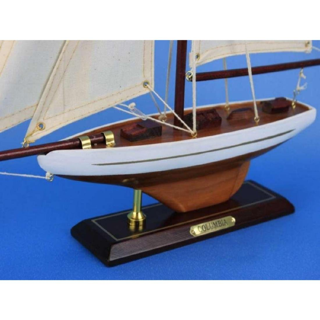 "Wooden Columbia Model Sailboat Decoration 16"" - 8"