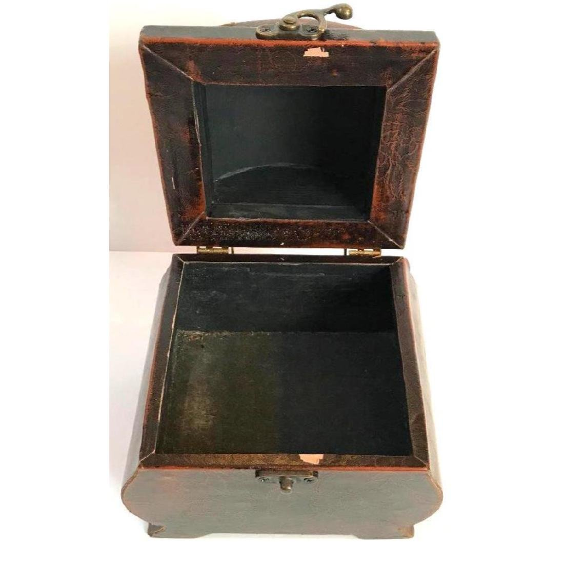 Leather Covered Tea Caddy - 3