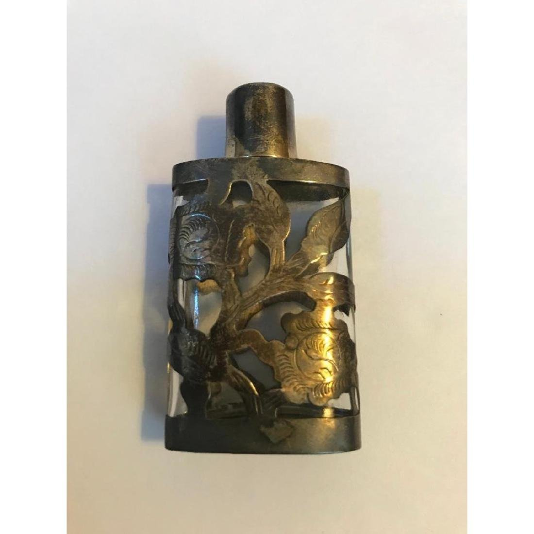 1940's Sterling Overlay Perfume Bottle - 2