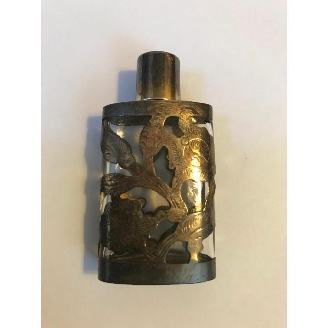 1940's Sterling Overlay Perfume Bottle - 3