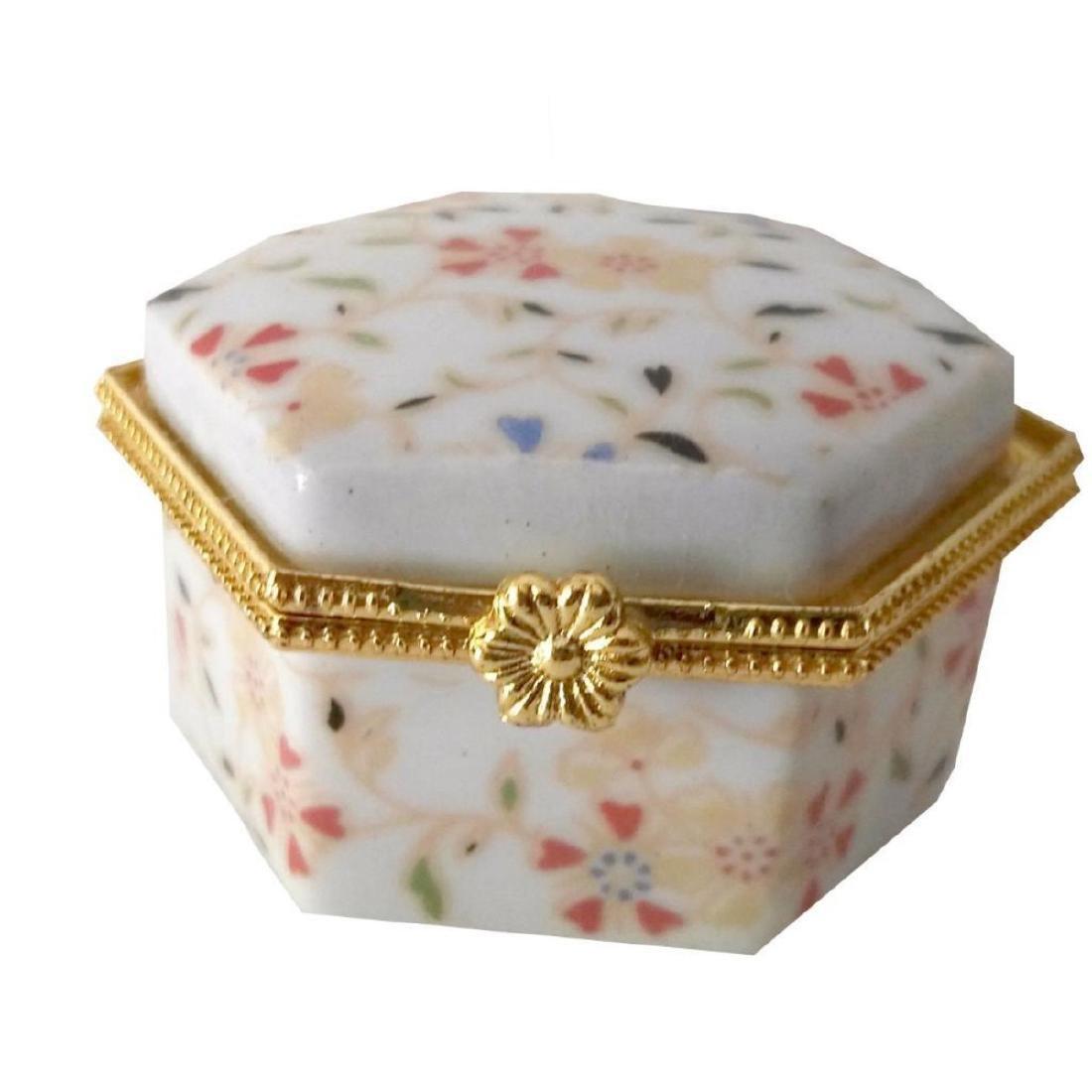 Spring Flowers Porcelain Jewel Trinket Box