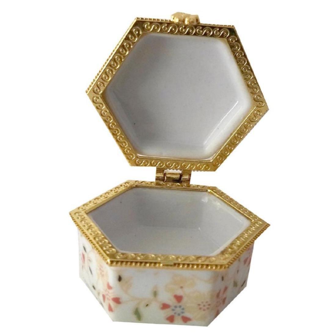 Spring Flowers Porcelain Jewel Trinket Box - 2