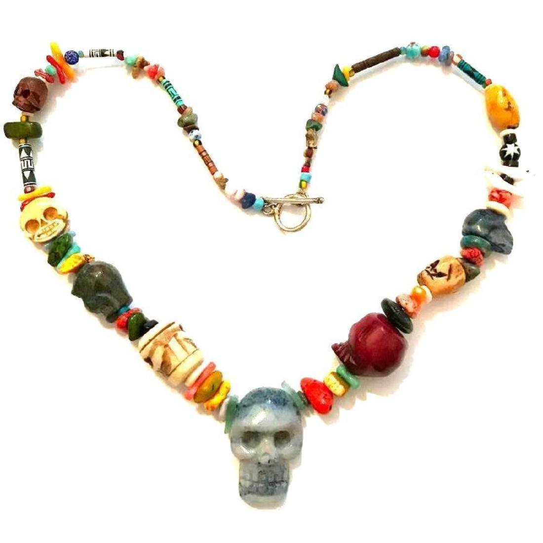 Hand-carved Artisan Skull Beads Necklace