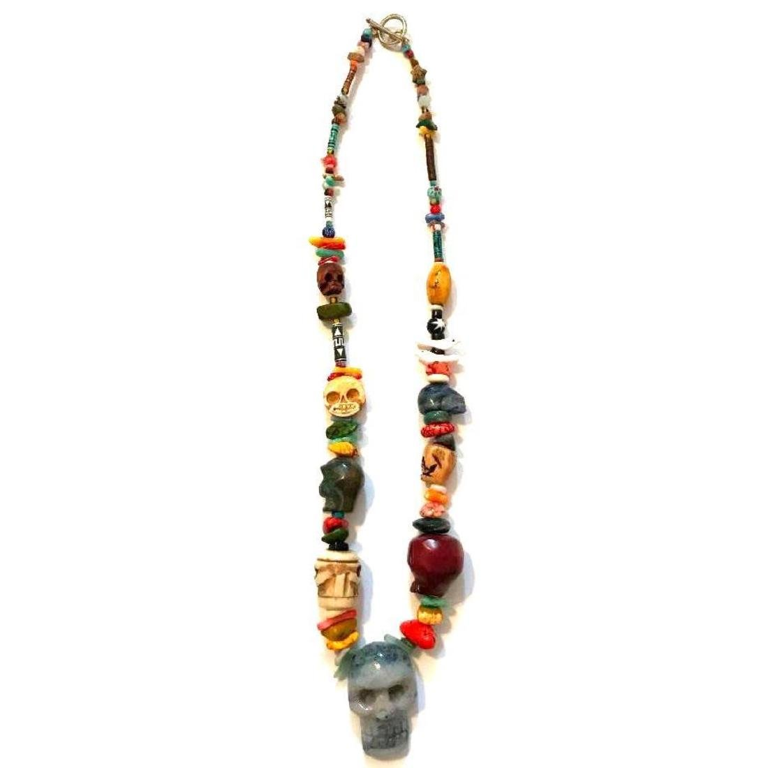 Hand-carved Artisan Skull Beads Necklace - 2