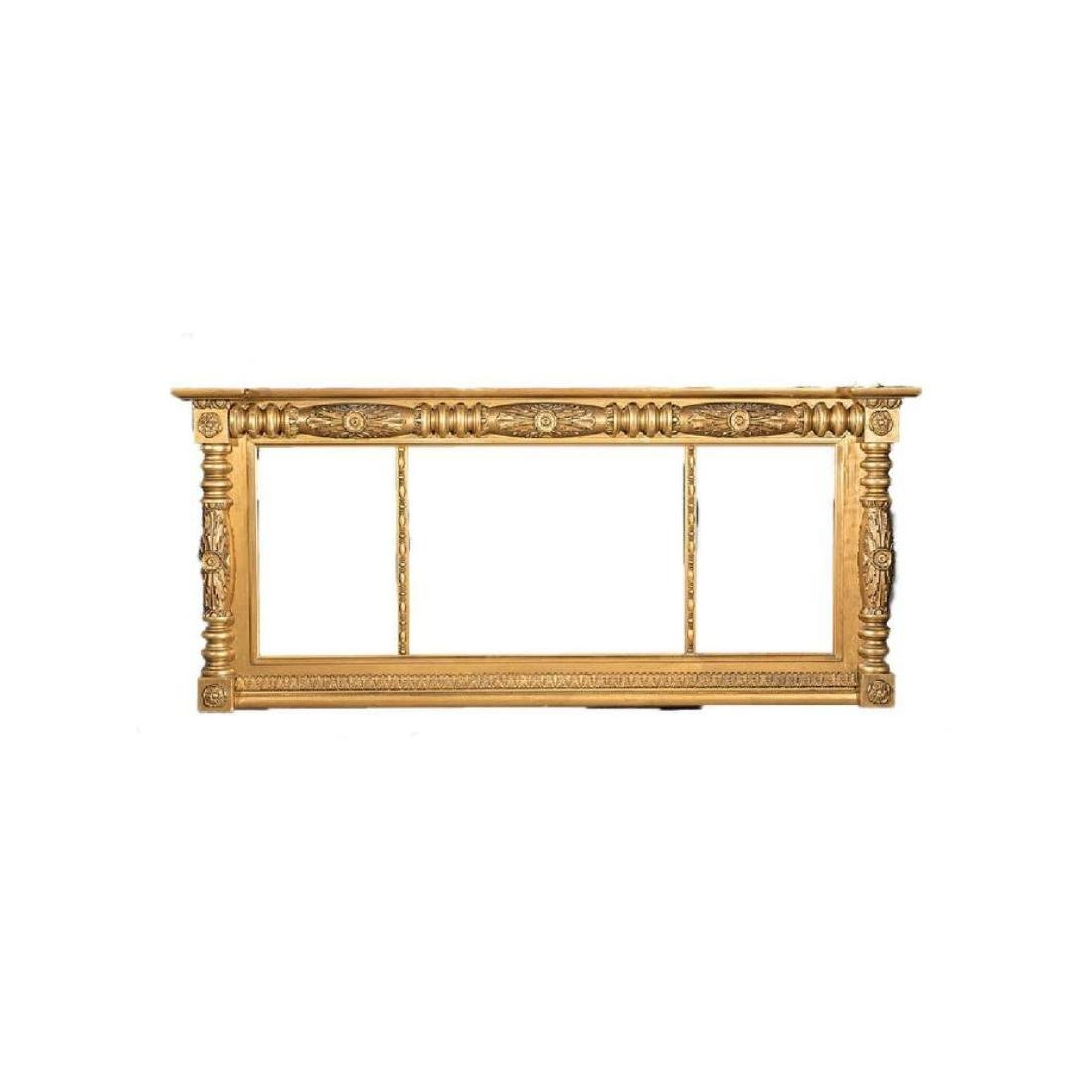 American Classical Giltwood Overmantel Mirror