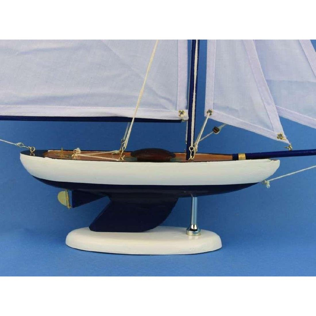 Wooden Bermuda Sloop Dark Blue - White Sails Model - 2