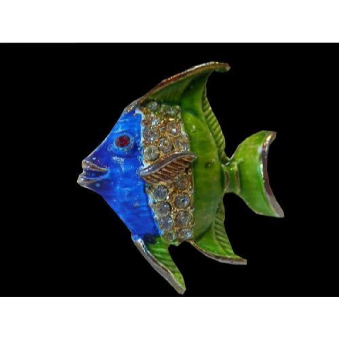 Vintage 1970's Blue & Green Enamel & Rhinestone Fish