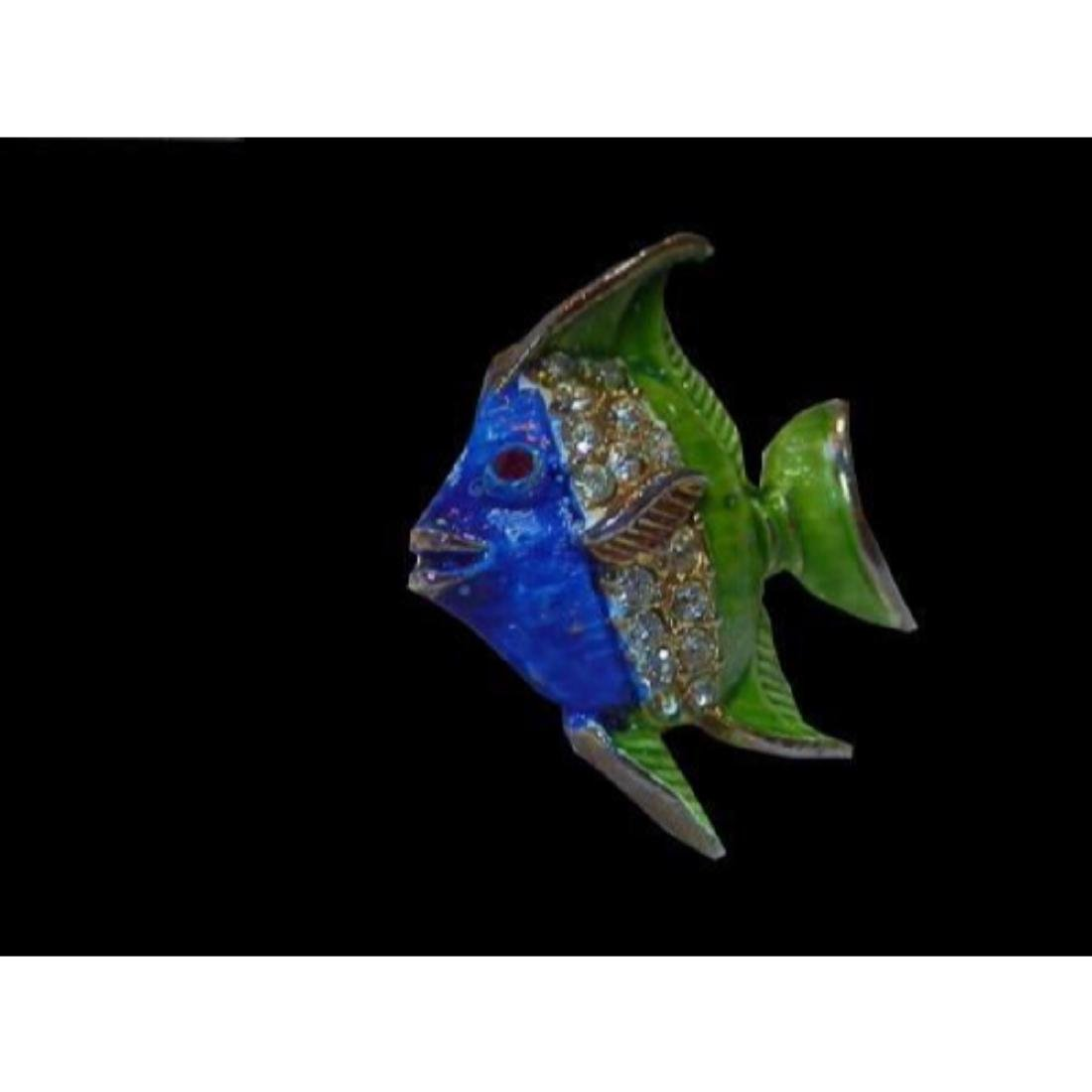 Vintage 1970's Blue & Green Enamel & Rhinestone Fish - 2