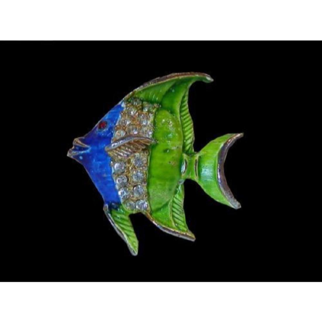 Vintage 1970's Blue & Green Enamel & Rhinestone Fish - 4