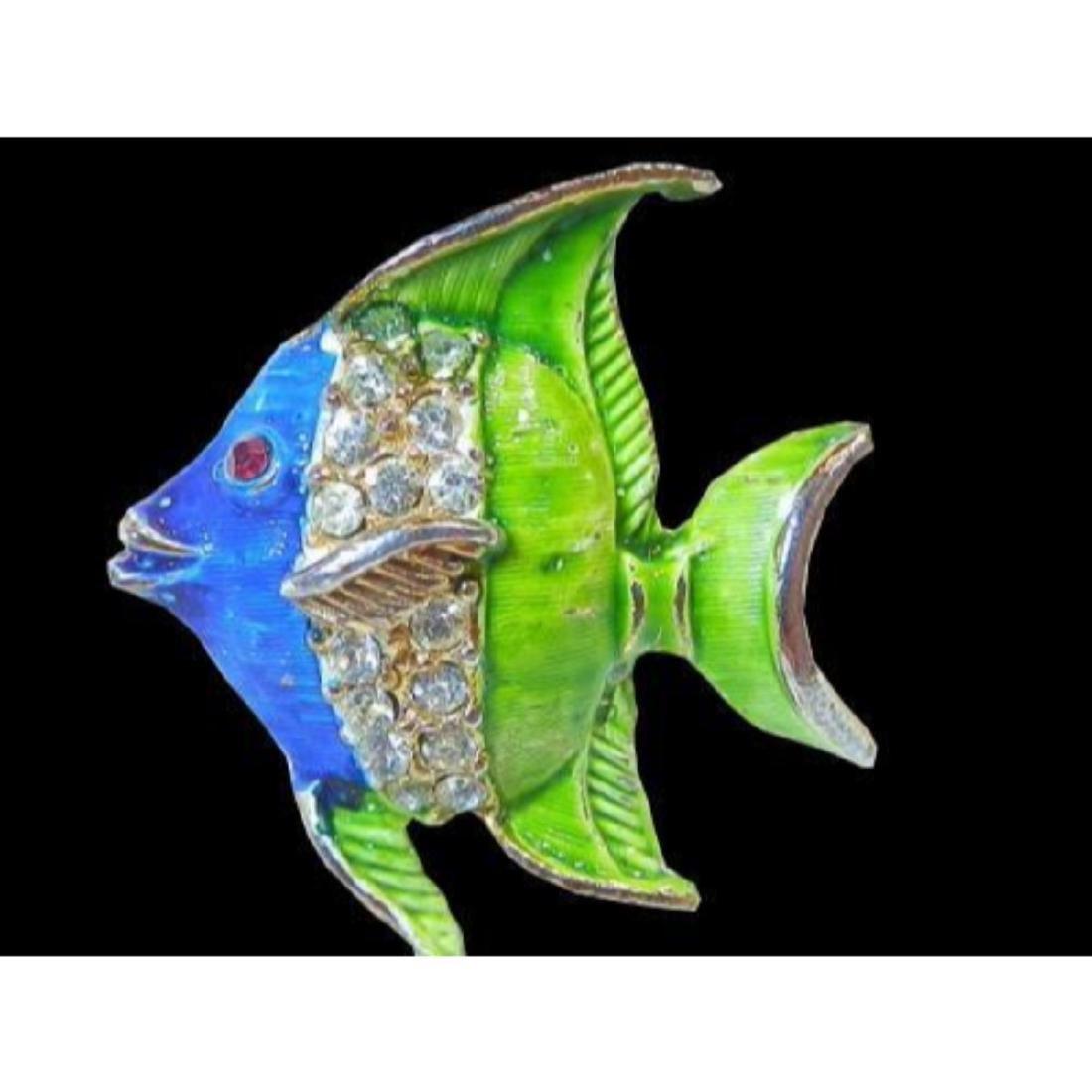 Vintage 1970's Blue & Green Enamel & Rhinestone Fish - 5