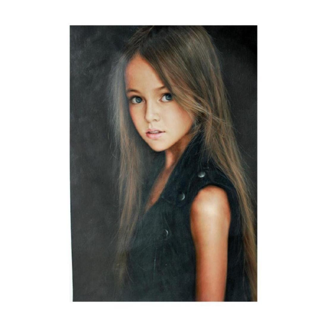 21stc Photrealism, Beautiful Litlle Girl Oil Painting