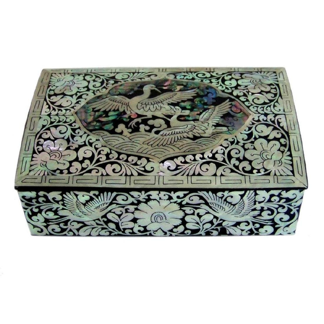 Mother Of Pearl Inlaid Box_ Lacquer Ware Inlaid - 2