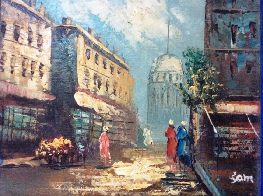 Street Scene , Vintage Oil On Canvas Board, Signed,