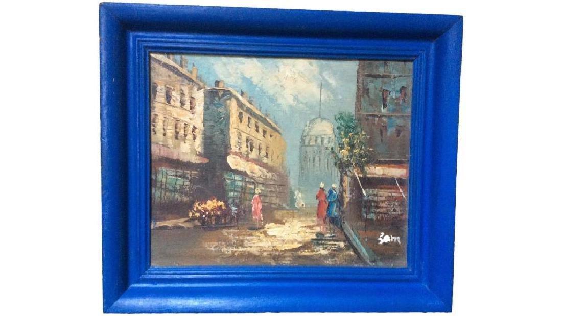 Street Scene , Vintage Oil On Canvas Board, Signed, - 2