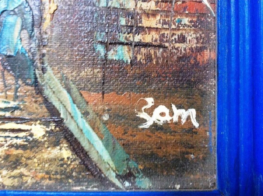 Street Scene , Vintage Oil On Canvas Board, Signed, - 3