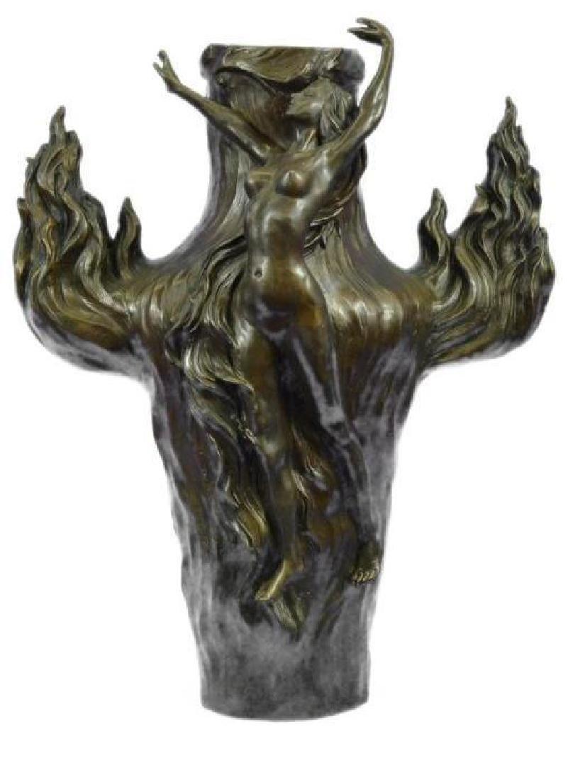 Genuine Bronze Metal Statue Nude Lady Girl Water Jug