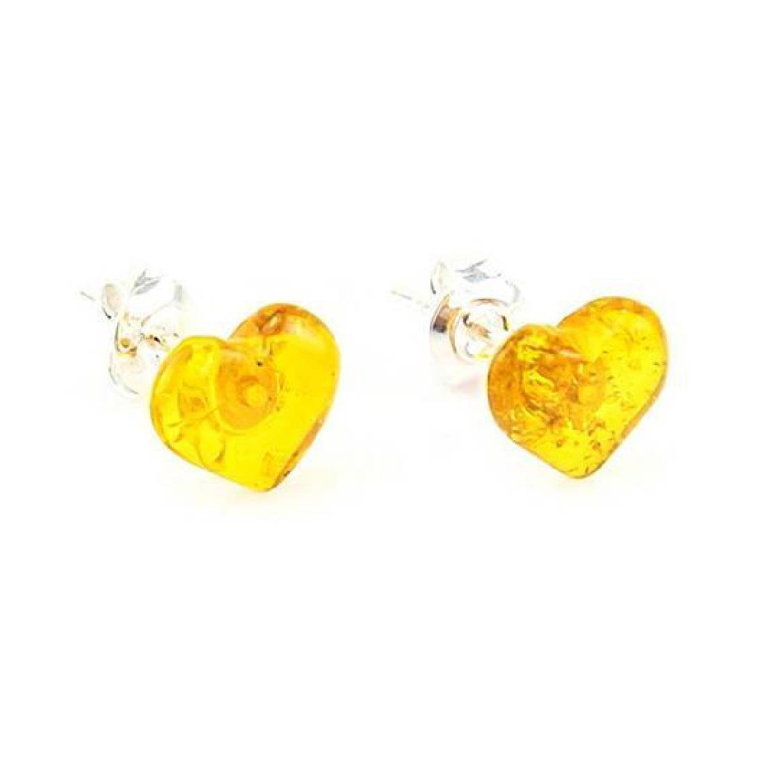 Baltic Sterling Silver Amber Stud Heart Earrings