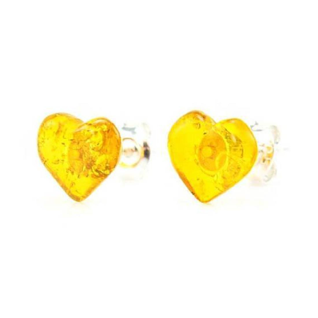 Baltic Sterling Silver Amber Stud Heart Earrings - 2