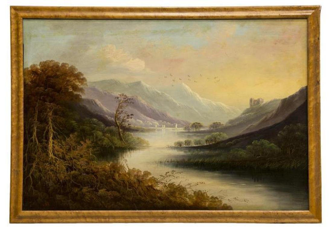 Framed Oil On Board Painting, Mountain Landscape