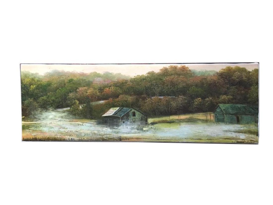 Oil on Canvas Painting, Rural Mountain Landscape