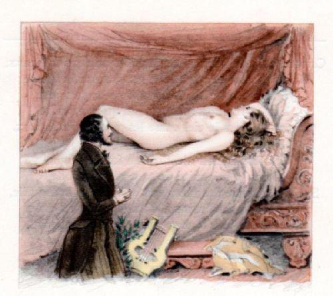 Nude Blonde Girl Divan Sofa Lyre Music Paul E. Becat