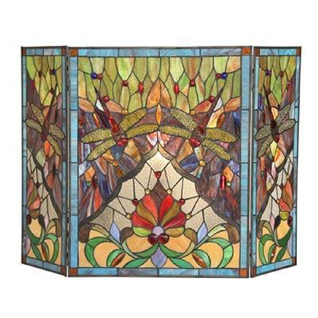 Tiffany-style Victorian 3pcs Folding Fireplace Screen