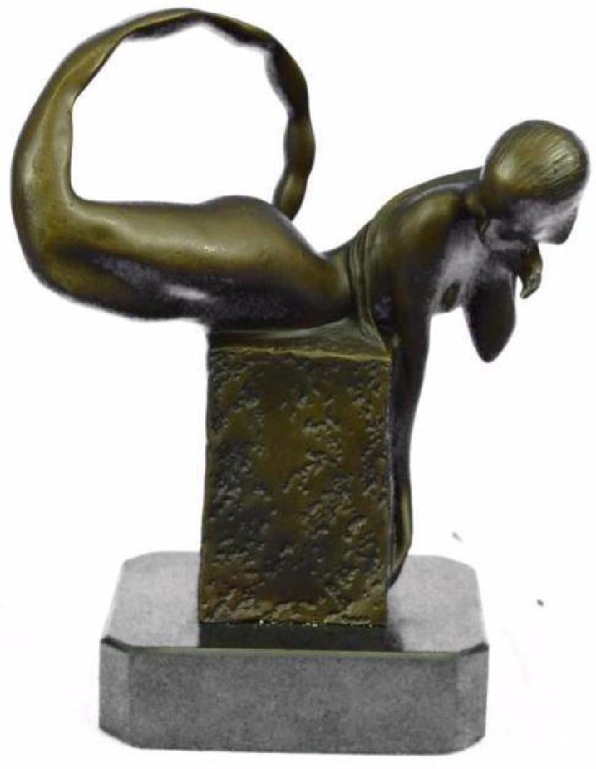 Handcrafted Art Deco Nude Naked Erotic Mermaid Bronze