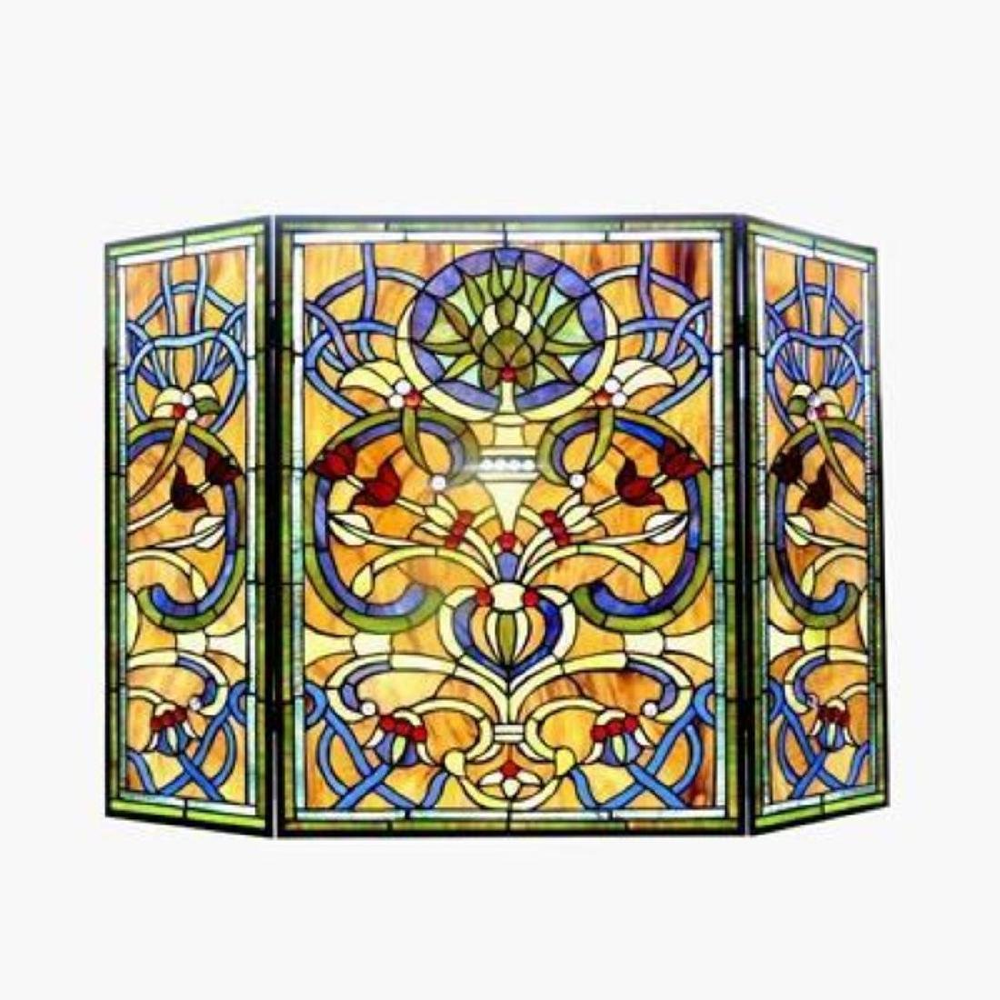 Tiffany-glass Victorian 3pcs Folding Fireplace Screen