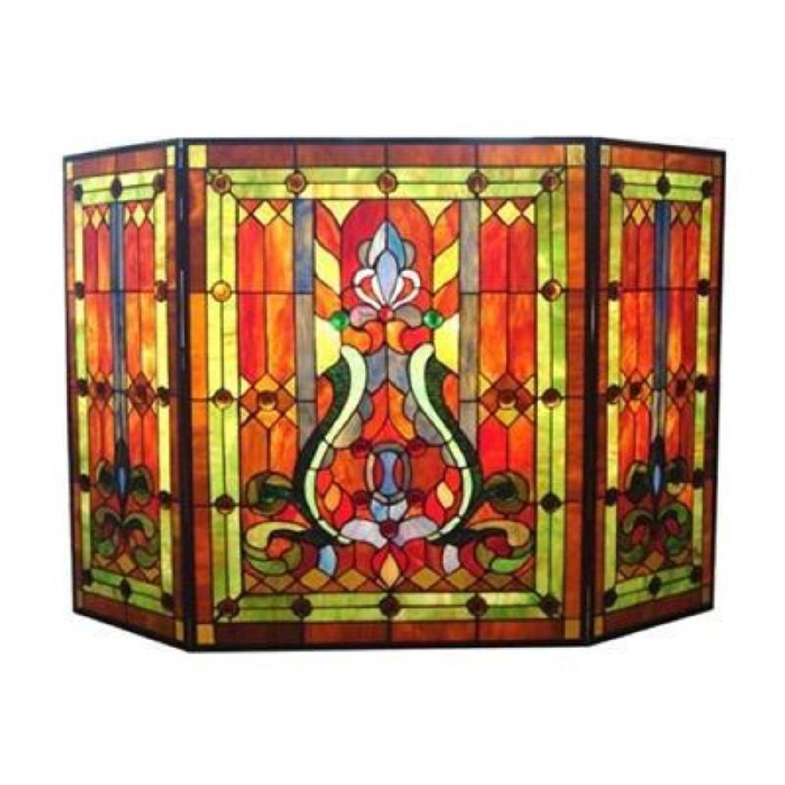 Tiffany-glass Victorian 3pcs Folding Fireplace Screen
