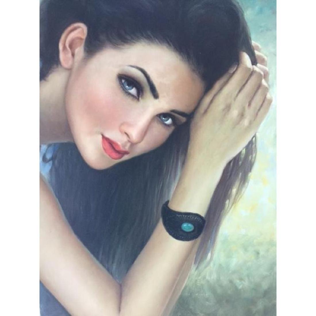 20thc Russian School, Brunette Beauty Oil Painting