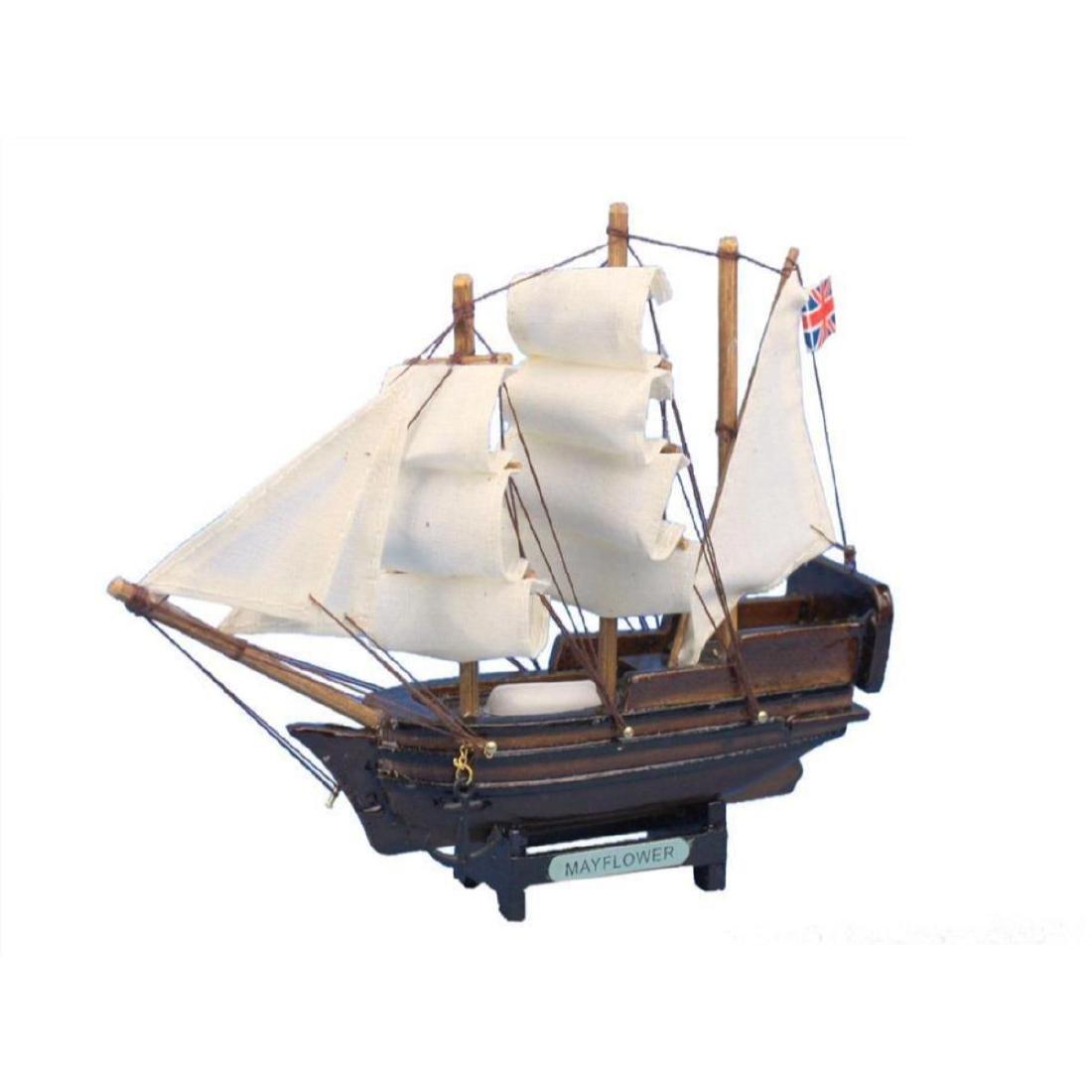 "Wooden Mayflower Tall Model Ship 7"""