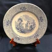 1850's Davenport Blue Transferware Ironstone Gothic