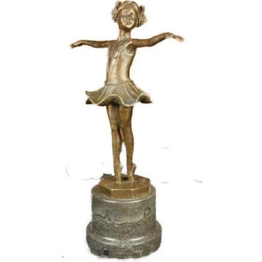 Signed Preiss Little Girl Child Ballerina Bronze Marble