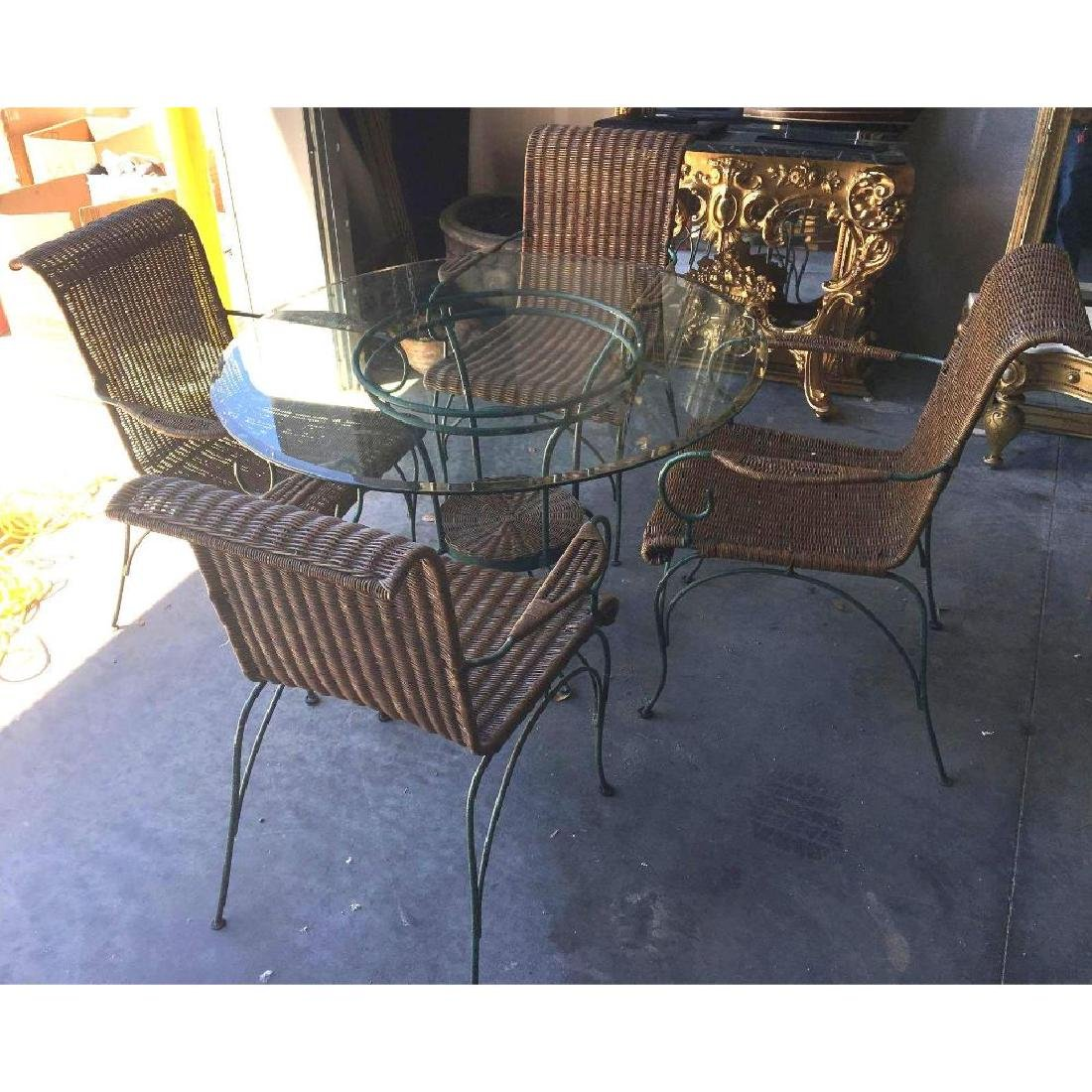 Enameled Iron & Wicker Beveled Glass Dining Table &