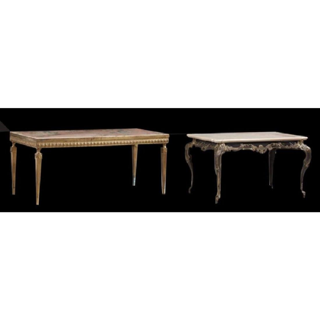 Two 19thC French Marble Top & Gold Metal Coffee Tables